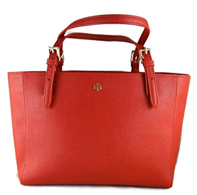3fc378f53bb9 Amazon.com  Tory Burch Red Leather Saffiano York Buckle Tote Handbag  Shoes