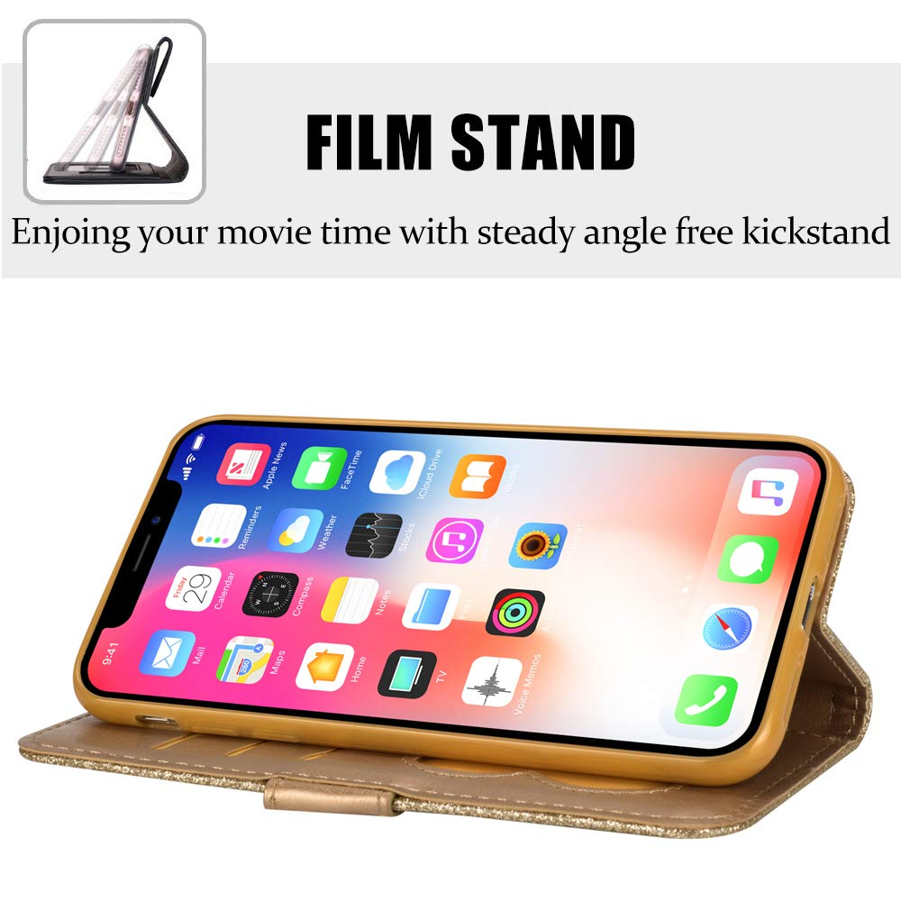 iPhone Xs Case,Vodico iPhone X Durable Slim Fit Magnet Flip Folio Luxury  Glitter Sparkly Bling Leather Wallet Stand Cover Zipper Pocket Purse with