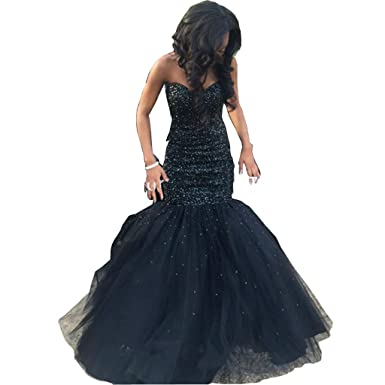 Chady Gorgeous Sexy Royal Blue Prom Dresses 2030 Long Sweetheart Sleeveless Mermaid Sparkling Beading Formal Black