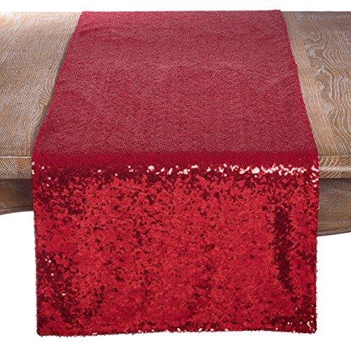 saro lifestyle Shimmering lentejuelas fiesta de noche evento camino de mesa, Rojo, 16' x 72', 1, 1