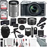 Canon EOS M6 Mirrorless Digital Camera W/18-150mm Lens Deluxe Bundle Professional 2 X 32GB, Telephoto & Wide-Angle Lens + Flash + Remote + Tripod + Filters + Straps + Xpix Accessories