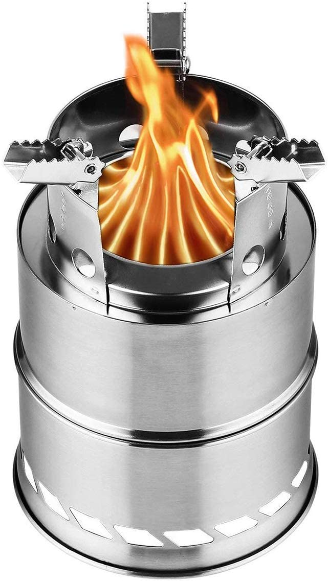 FURUISEN Stainless Steel Camping Stove Backpacking Stove Wood Burning Stove with Nylon Carry Bag for Outdoor Hiking Traveling Camping, Survival. Burns Twigs Picnic BBQ