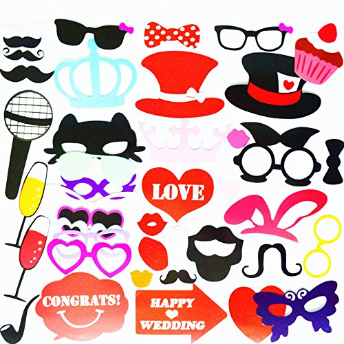 [SANJOIN Photo Booth Props 58 Piece DIY Kit for Wedding Party Reunions Birthdays Photography Photo] (80s Costume For Kids)