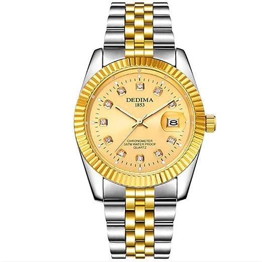 Relojes Moda Pareja Acero Impermeable Cinturón para Mujer Moda Dorada Calendario de los Hombres, Cara Dorada Cinturón Dorado Estilo de los Hombres: ...