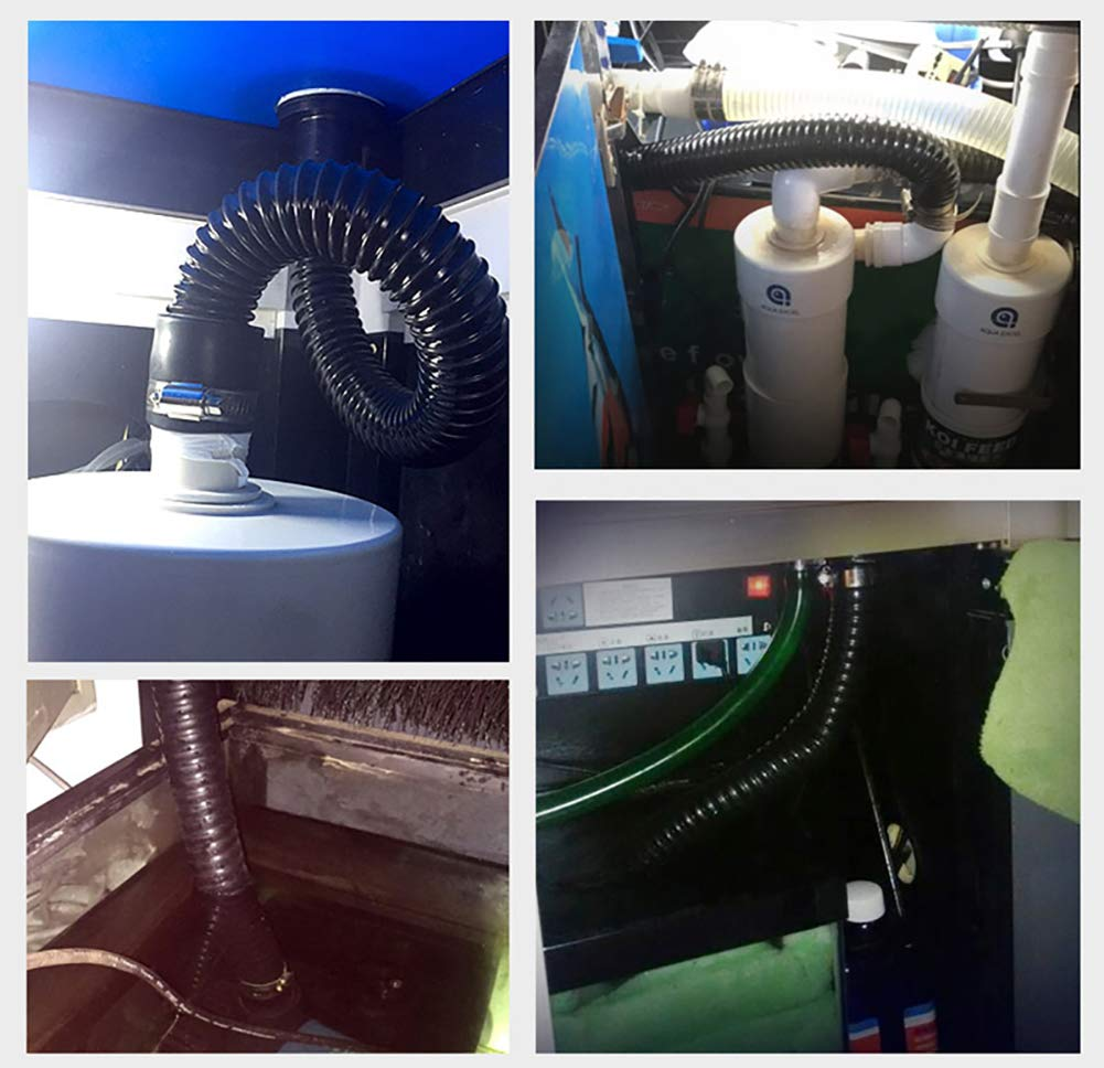 2m Flexible Hose Corrugated Black PVC Pond Tubing Water Tube Fish Pond Pump Flexi Pipe 20mm Diameter