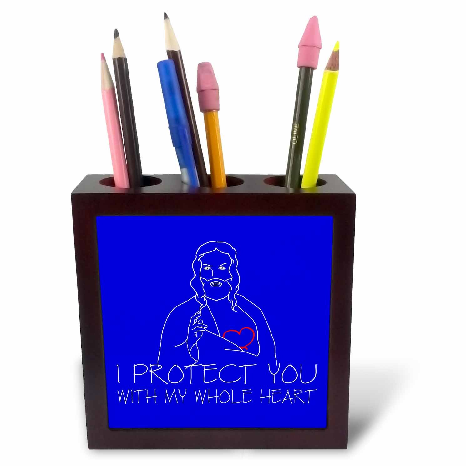 3dRose Alexis Design - Christian - Jesus Christ. I protect you with my whole heart. White on blue - 5 inch tile pen holder (ph_271958_1)
