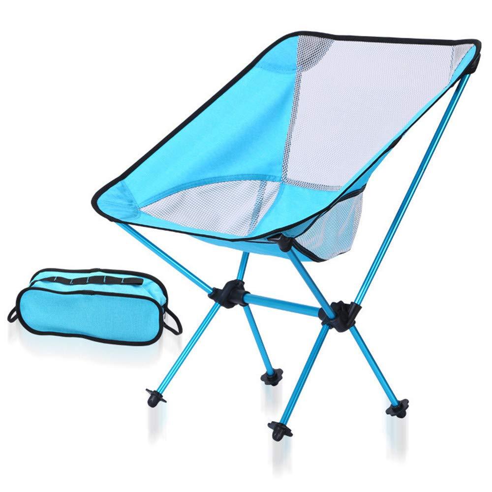 Garyxiyi Klappbarer Campingstuhl Faltbarer Stuhl im Freien leichte Tragbare Angeln Camping Outdoor Beach Table Stuhl Tragen (Farbe : Blau)