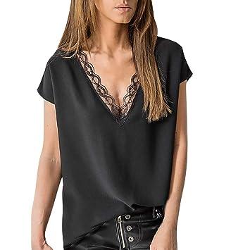 SMILEQ Moda para Mujer Camiseta Casual Solid Corte de Encaje de ...