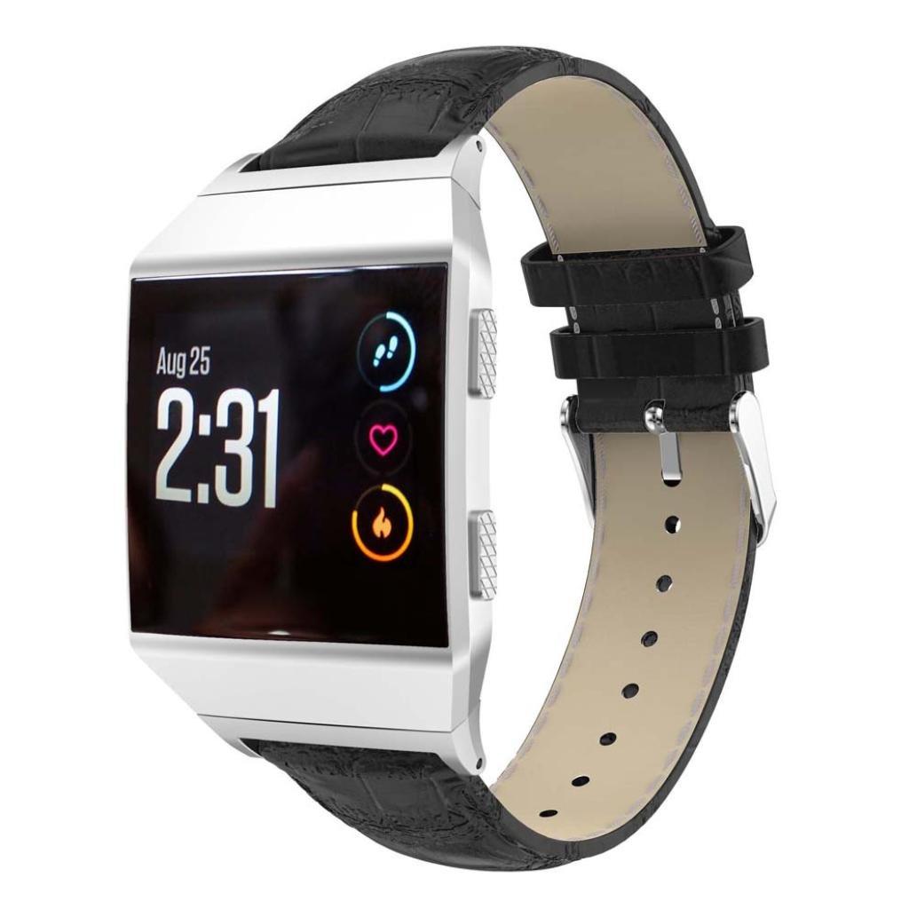 llguzファッションソフトで快適なfor Fitbit Ionicバンドレザーバンド交換用バンド ブラック ブラック B076CJ4837
