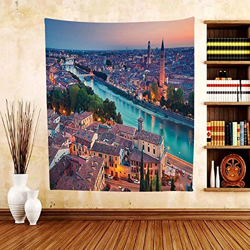 Gzhihine Custom tapestry European Tapestry Verona Italy During Summer Sunset Blue Hour Adige River Medieval Historcal for Bedroom Living Room Dorm Aqua Coral - Hours Vic Gardens