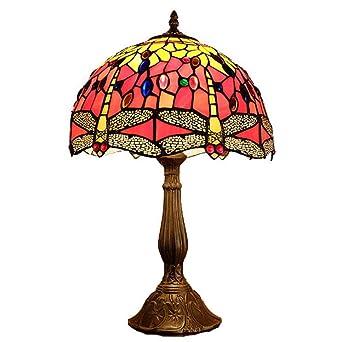 Lámpara de mesa estilo libélula de estilo Tiffany, vidriera de 12 ...
