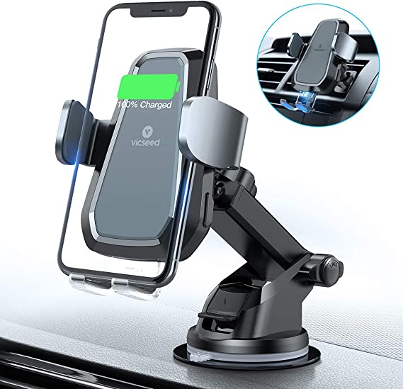 VICSEED Wireless Car Charger Mount 2019 Newest Auto Clamping