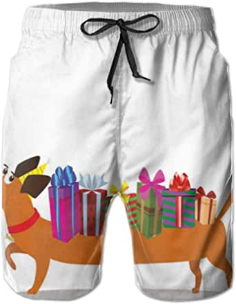 K0k2t0 Men Swim Trunks Beach Shorts,Nursery Themed Cartoon of Sausage Dog with Gift Boxes On Back and Balloon Tail
