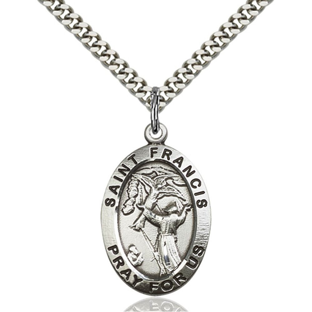 Sterling Silver St. Francis of Assisi Pendant 1 x 5/8 inches with Heavy Curb Chain