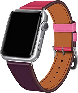 Coholl iwatch 42mm/44mm Leather Band,Single Tour Men Women Loop Leather Replacement Wristband Compatible with Apple Watch Series 4/3/2 38mm 40mm (Bordeaux/Rose Extrême/Rose Azalée, 38/40)