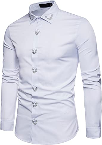 Homme Fashion Broderie Col Slim Chemise habillée à manches longues Casual Business Tops