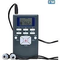 Songway Pocket portátil Radio FM Reloj Digital Estéreo con audífono Mini Radio para interpretación de conferencias internacionales, Examen, Actividades al Aire Libre, Equipo de guía turístico