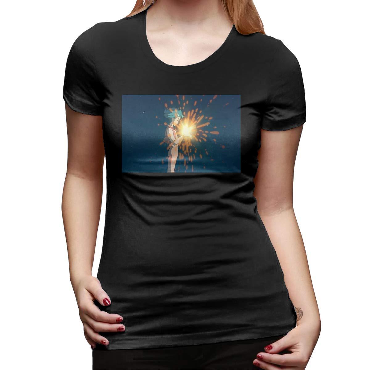 HEPPARD 2019 Howls Moving Castle Movie Scene Tee Black Short-Sleeve Tshirts for Women Summer