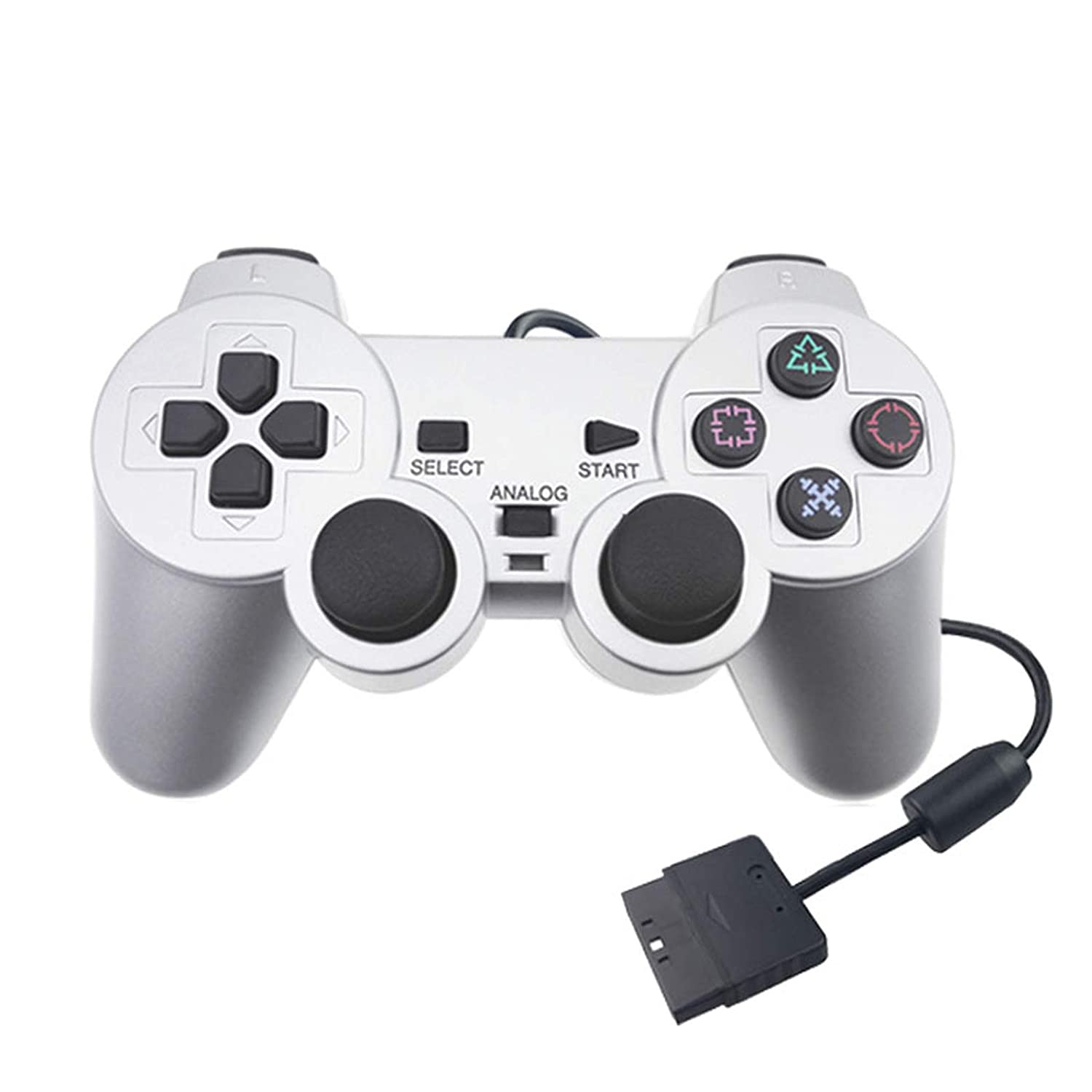 PS2 Controller Wired, MOLICUI Remote for Sony Playstation 2 Console,Silver