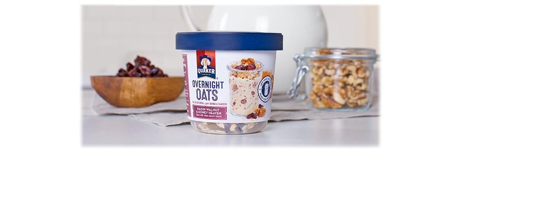 Quaker Overnight Oats, Raisin Walnut & Honey Heaven, Breakfast Cereal, Pack of 12