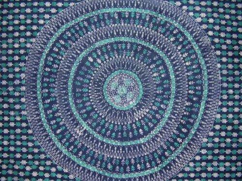 Tulsi Leaf Batik Tapestry Cotton Bedspread 108