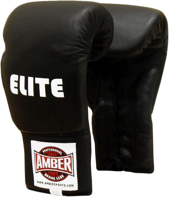 Amber Elite Fight Gear Proレースアップトレーニンググローブ、16オンス