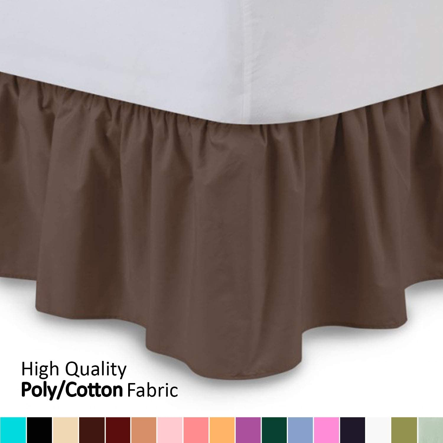 Shop Bedding Ruffled Bed Skirt (Twin XL, Brown) 14 Inch Drop Dust Ruffle with Platform, Wrinkle and Fade Resistant - by Harmony Lane (Available in All Bed Sizes and 16 Colors)