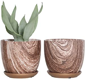 YIKUSH Ceramic Plant Pots Indoor, Planter Flower Pots 6 Inch Natural Wood Texture Printed with Drainage Hole & Ceramic Plant Saucers,Set of 2