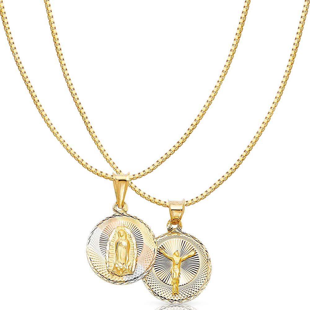 14K Tri Color Gold Diamond Cut Double Side Stamp Virgin Mary & Jesus Religious Charm Pendant with 0.8mm Box Chain Necklace - 18'' by Ioka (Image #1)