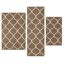 Kitchen Rugs Set, Maples Rugs [Made in USA][Rebecca] 3 Piece Sets Non Slip Padded Small Area Rugs for Living Room