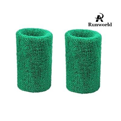 Runworld 4 Inch Sweatband / Cotton Sports Basketball Football Tennis Absorbent Wristband - Terry Cloth Athletic Wrist Sweat band Fits to Men Women (Pair)