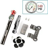Wantdo Portable 140PSI High Pressure Bicycle Air Pump with Accurate Pressure Gauge