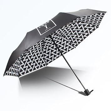 Paraguas Quitasol Hembra Anti-Uv Lluvia Paraguas Plegable De Plástico Negro