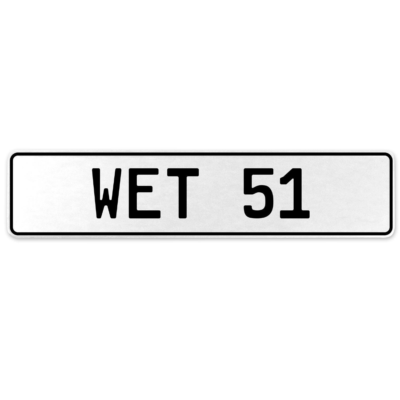 Vintage Parts 554945 Wet 51 White Stamped Aluminum European License Plate