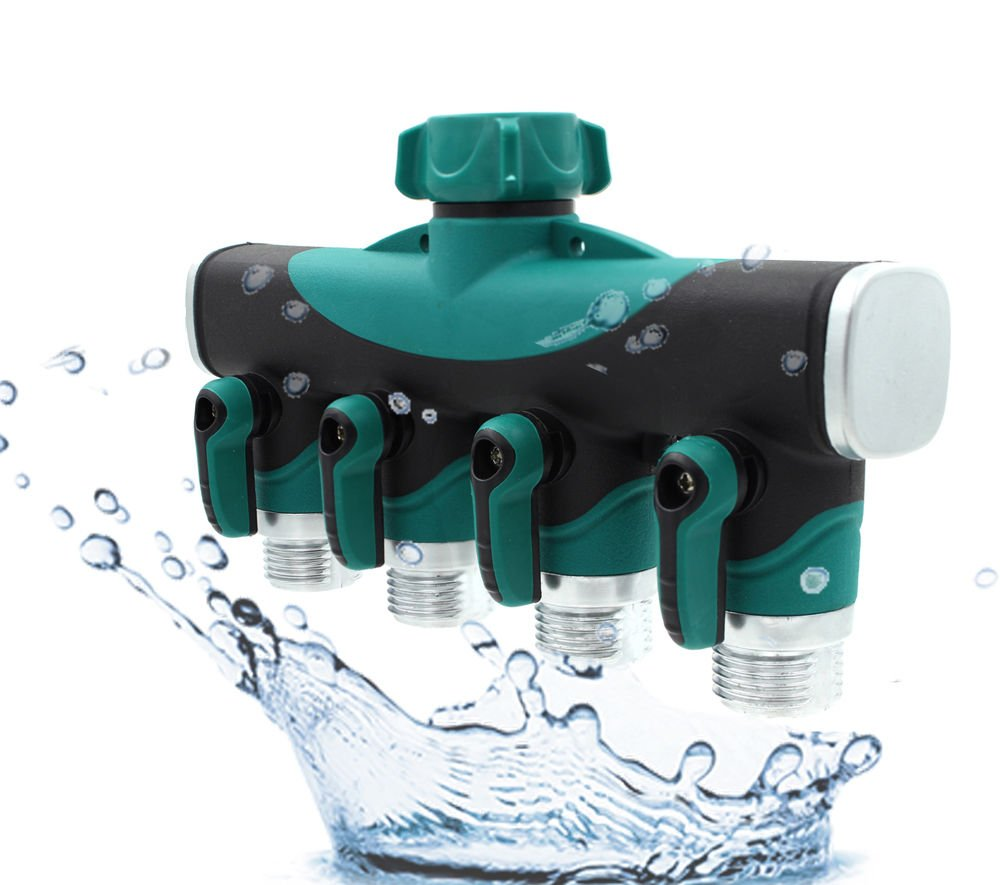 Leadrise® Garden Hose Connector 4way Garden Hose to Hose Connector Water Splitter Valve