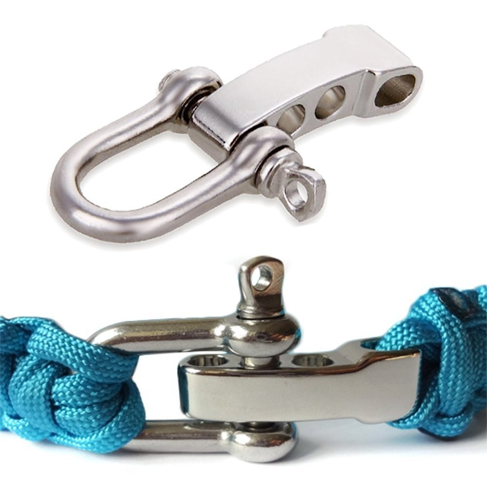 Letool®20 Packs / Lot U Adjustable SHACKLE Buckle for Paracord Bracelet Stainless Steel