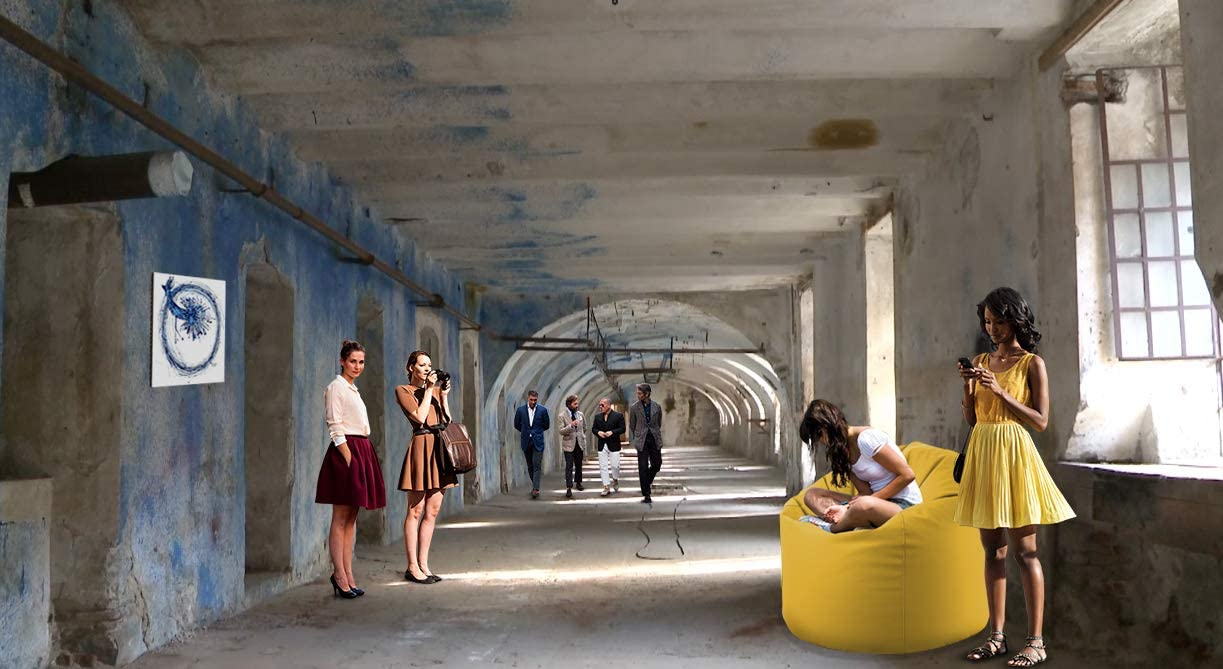 EXTROITALY Sacco Pouf TERA Giallo Ecopelle Poltrona Morbida 78x78 H.93 Lampo sul Fondo RIEMPITA in POLISTIROLO