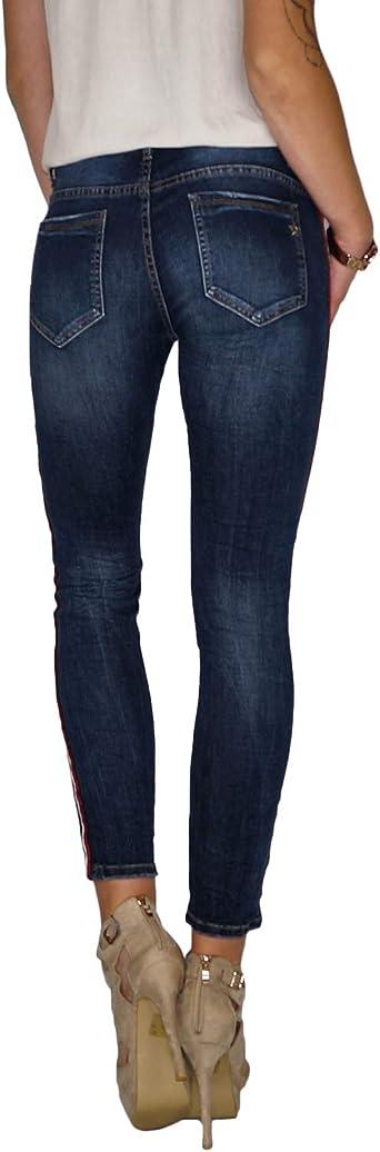 Dresscode-Berlin DB damskie jeansy rurkowe ze stretchem z paskami bocznymi (A196), kolor: granatowy , rozmiar: XS: Odzież