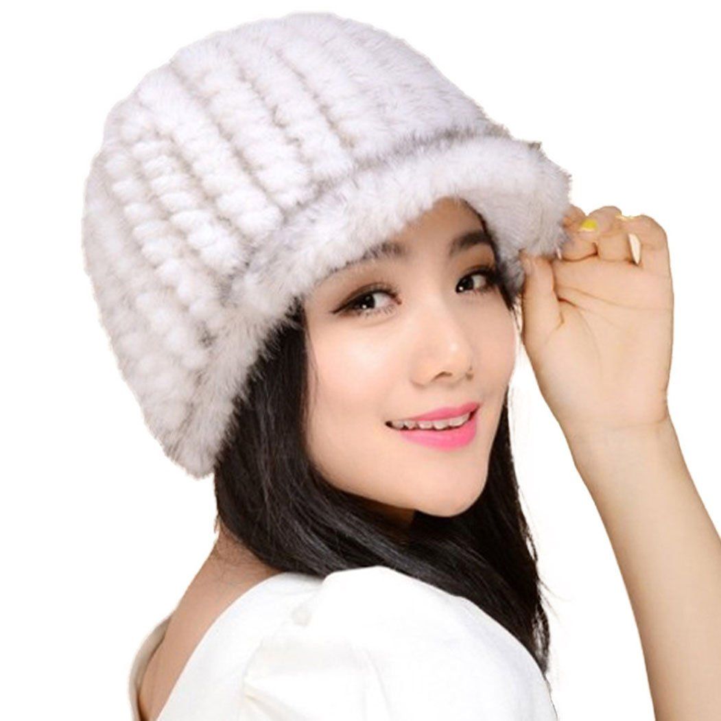 Women's Knitted Mink Fur Hat for Winter Snow Ski Caps with Visor,Sunlight by Fur Story