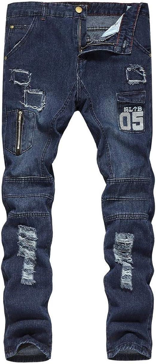 Nicellyer メンズホールピュアカラーミッドライズレターポケット薄いスキニージーンズズボン