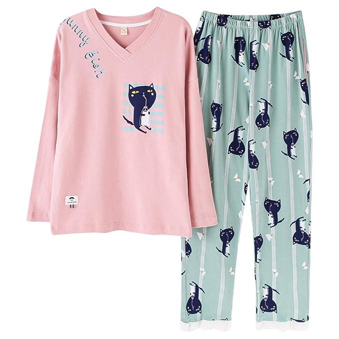 Mmllse Pijama De Mujer De Algodón Vestidor De Dormir Ropa De Casa De Estampado De Gato De Dibujos Animados Ropa De Dormir De Manga Larga Pijama: Amazon.es: ...