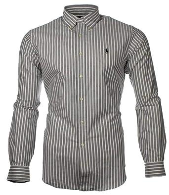 ef75b9aa10a6d7 Ralph Lauren Polo Men s Custom Fit Poplin Shirt White Navy Black S ...