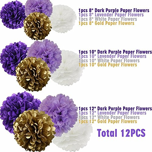 Happy Birthday Party Decoration Kit Purple Happy Birthday Banner With Purple Tissue Paper Pom Poms Paper Flowers by Wcaro (Image #3)