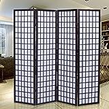 Giantex 4-Panel Room Divider Solid Shoji Wood Folding Privacy Screen Cherry