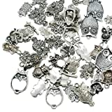 Pandahall 50pcs Antique Silver Tibetan Style Alloy Owl Pendants for Jewelry Making
