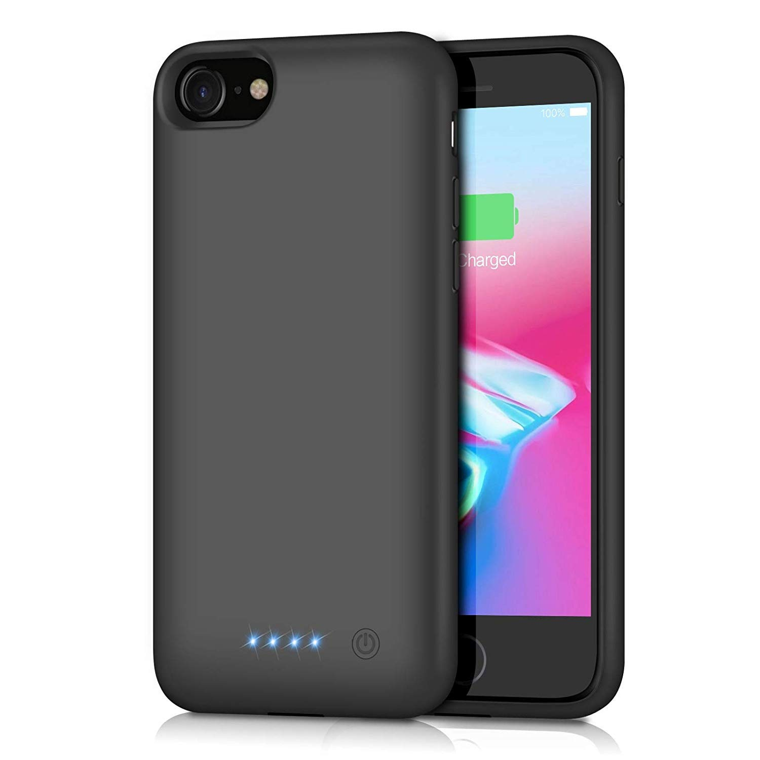 QTshine Battery Case for iPhone 8/7, [6000mAh] Protective Portable Charging Case Rechargeable Extended Battery Pack for Apple iPhone 8&7(4.7') Backup Power Bank Cover - Black