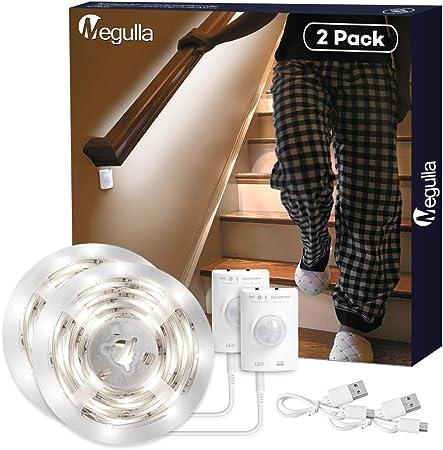 Tira de luces LED, inalámbrica, sensor de movimiento, luz nocturna, batería recargable con USB, apagado automático, temporizador para habitación infantil, despensa y escaleras: Amazon.es: Iluminación
