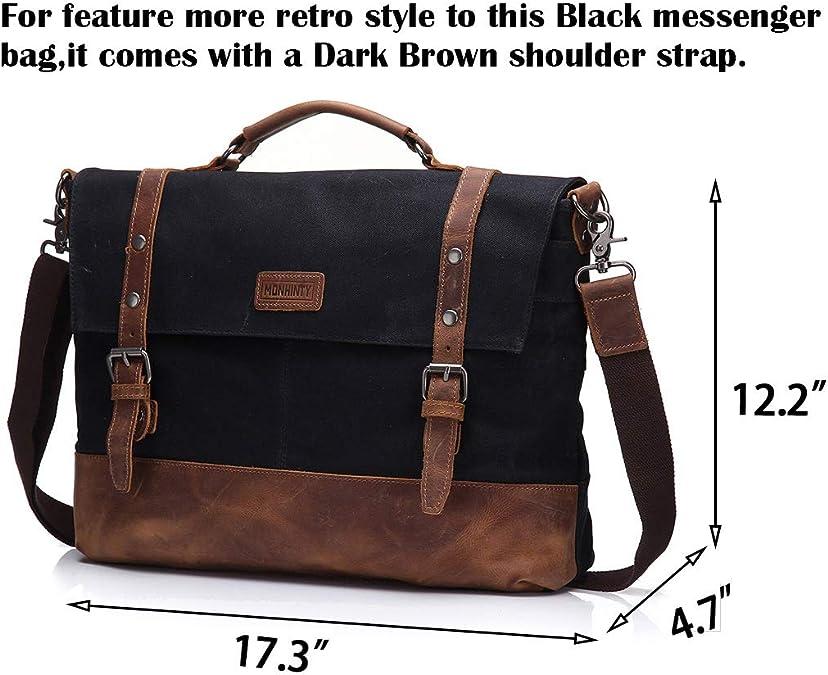 IMOBABY Tropical Leaf Printing Laptop Bag Canvas Messenger Shoulder Bag Briefcase Fits 15-15.4 Inch