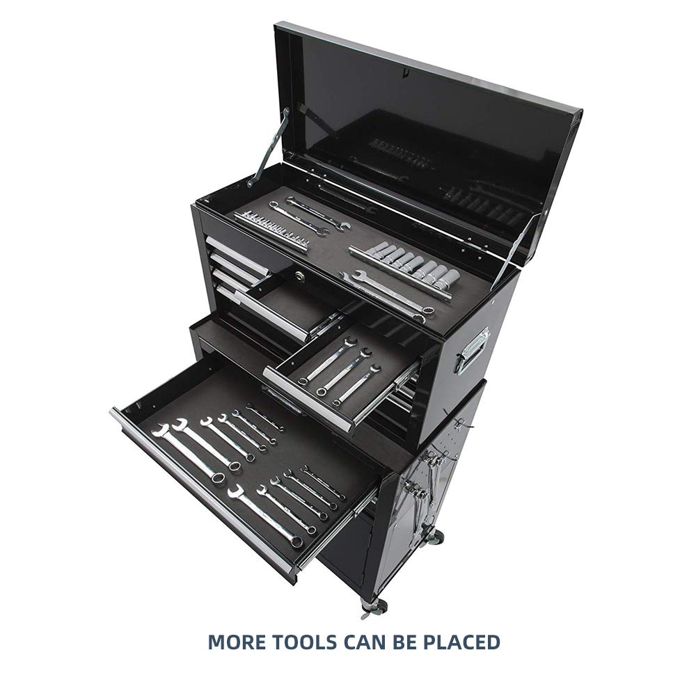 Tool Box 8-Drawer Rolling 2 in 1 Tool Cabinet With Drawer Removable Tool Box,Keyed Locking System Toolbox Organizer Boxes,Black by Long World (Image #2)