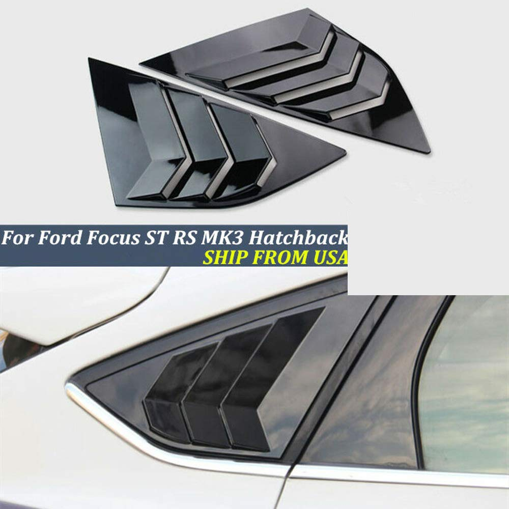 KKmoon Rear Window Louvers Car Rear Window Blinds Side Tuyere Louvers Vent for Ford Focus ST RS MK3 Hatchback Carbon Fiber Style